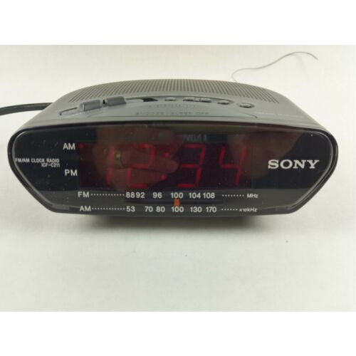 sony-dream-machine-icfc211-black-alarm-clock-radio-am-fm-led-display-tested