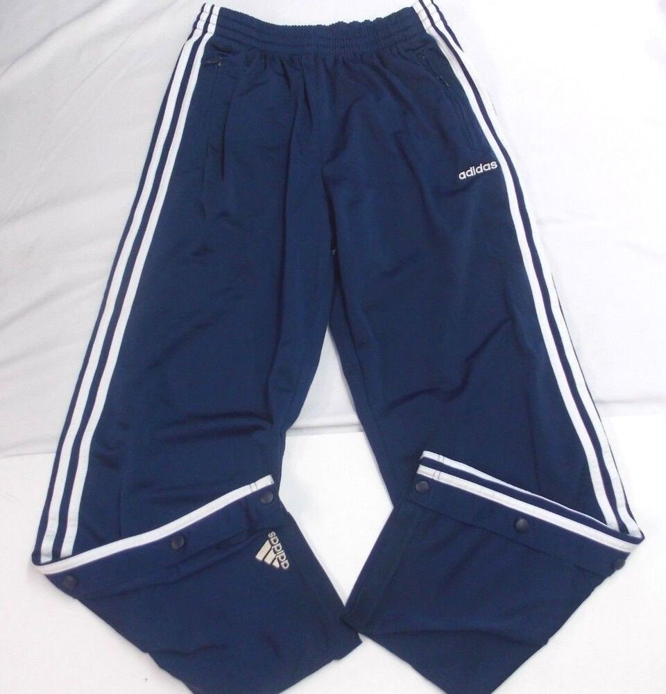 470e6105fb72 Details about Vtg ADIDAS Mens SNAP Warm-Up Track Pants L TEAR AWAY Navy  BLUE Satin hip hop