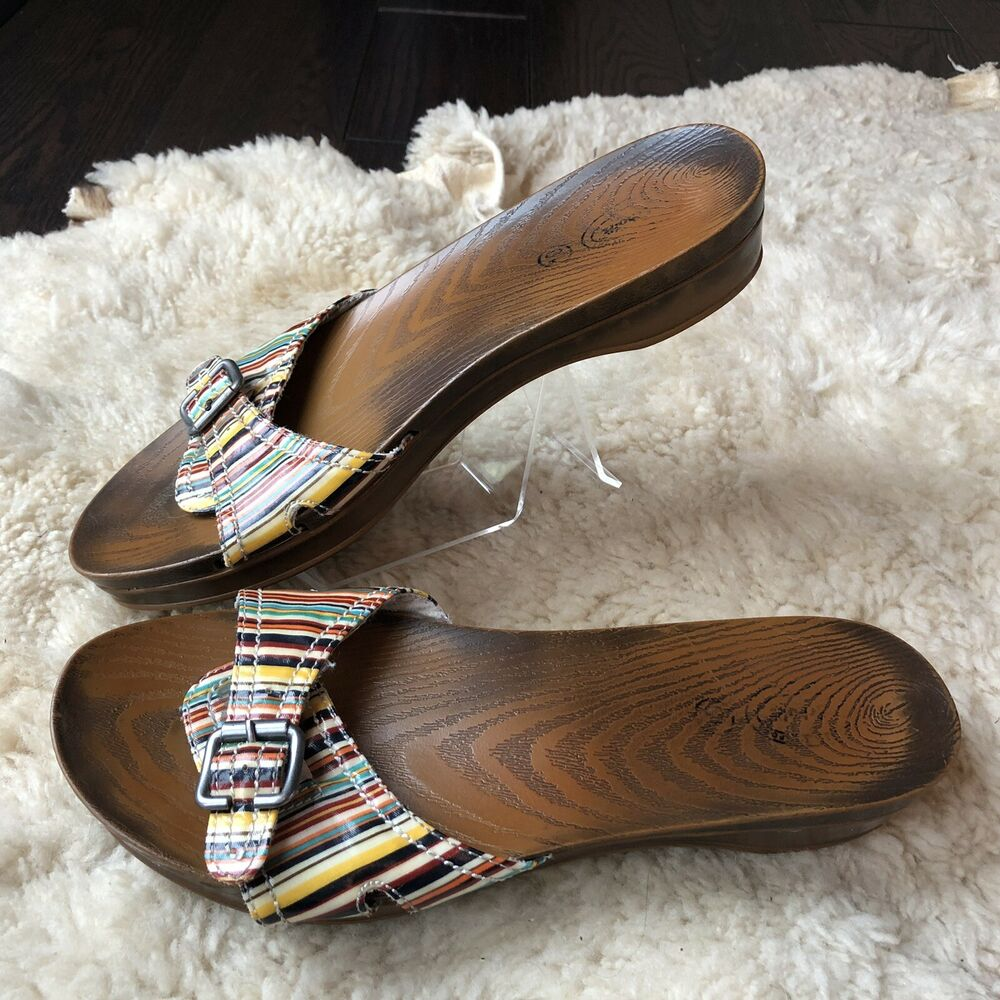 9ca228ce6857 Details about Dr. Scholl s Advanced Comfort Series Women s Clog Sandals  Striped Buckle US 10