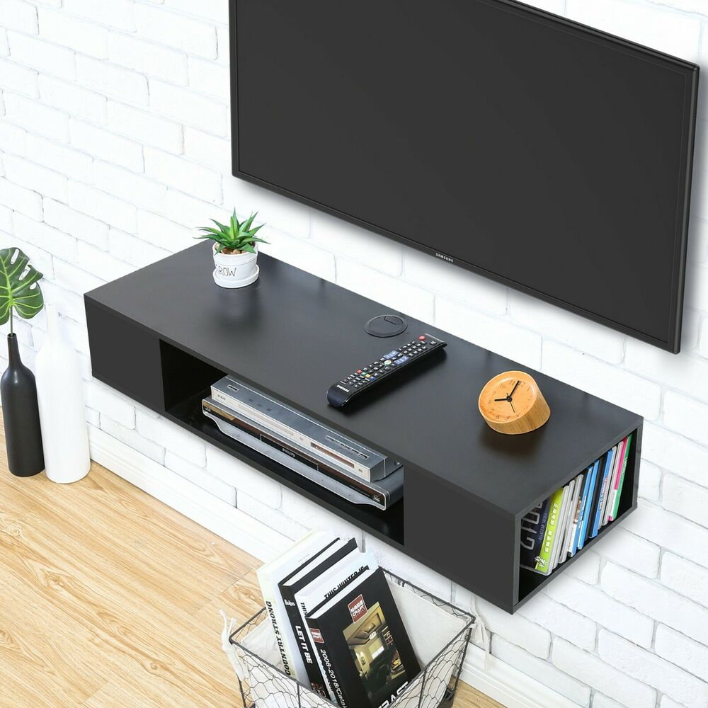 Details About Fitueyes Wall Mounted Floating Media Console Component Shelf Stand