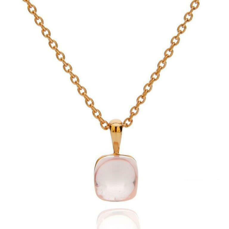 Rose Quartz 925 Gold Plated Romantic Designer Necklace 17 Bild Der Frau New Ebay