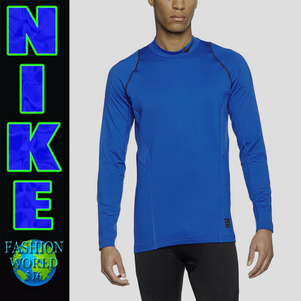 bf7381db Details about Nike Men's Size M Pro Hyperwarm Fitted Long Sleeve Shirt  801998 Blue/Black NWT