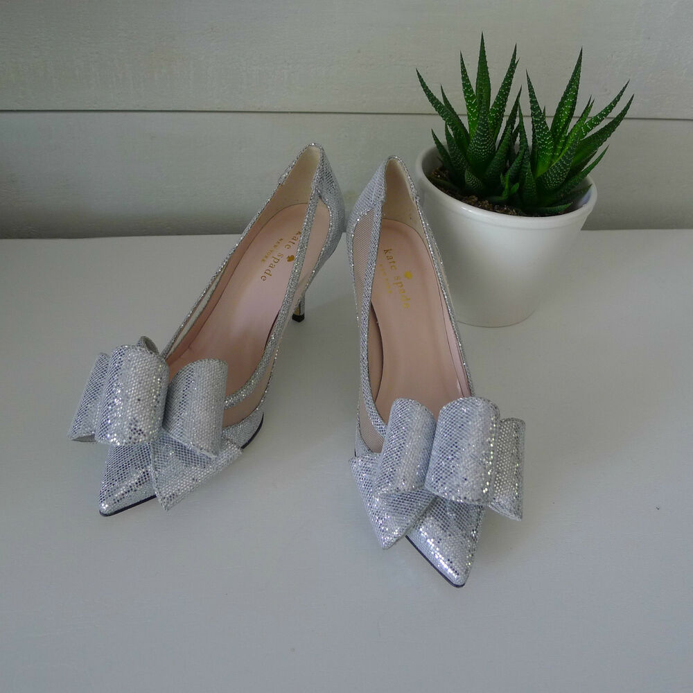 56ceb2f560b Details about KATE SPADE Silver SHIMMER JACKIE HEELS 5.5 Shoes BOW Wedding  BRIDAL Sold Out NEW