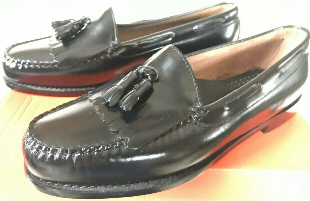 cae7279e68f G.H. Bass   Co. Layton Kiltie Weejuns Black Leather Loafers Shoes ...