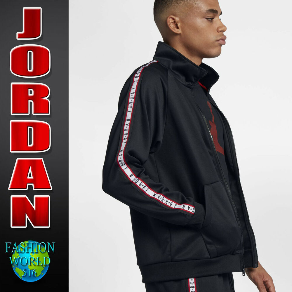 2cafc7019ff434 Details about Nike Men s Size XL Air Jordan Jumpman Tricot Jacket Black Red  White AQ2691