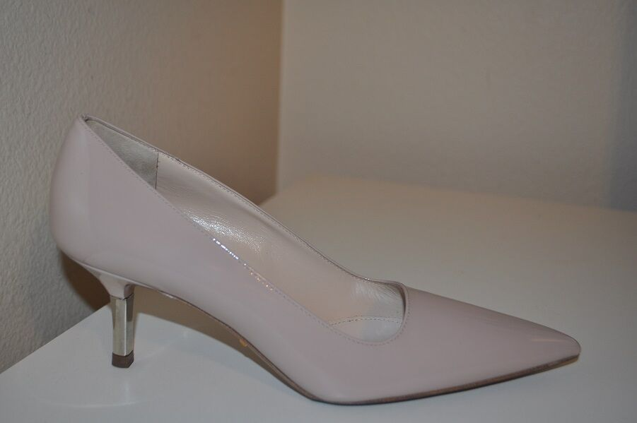 c751cd9d59 Details about $690+ PRADA Beige Patent Leather Pointy Toe Pump Shoe Metal  Low Heel 36.5 - 6.5