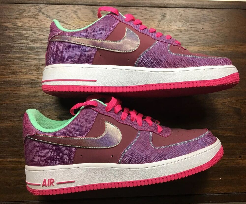 new products 53178 b8815 Details about Nike Air Force 1 One Sz 10 Men's 488298-614 Cherrywood red,  pink foil and green