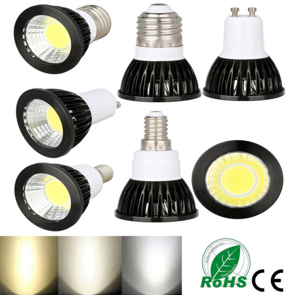 Dimmable E27 ES GU10 E14 LED COB Spot Lights Bulbs Lamp Ultra Bright 6W 9W 12W