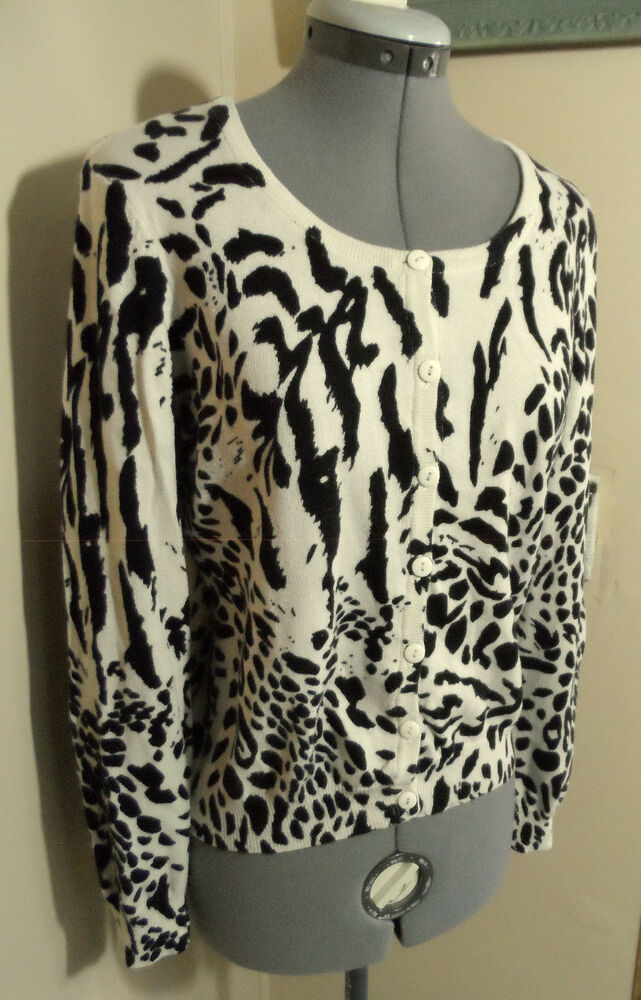 8026808a5115 Details about H&M Cardigan Sweater 12 Black Cream Leopard print Scoop Long  sleeve Wool blend