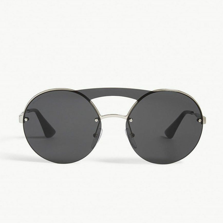 bca8701af62 Details about PRADA Cinema Evolution Round Brow Bar Sunglasses in Silver    Dark Grey