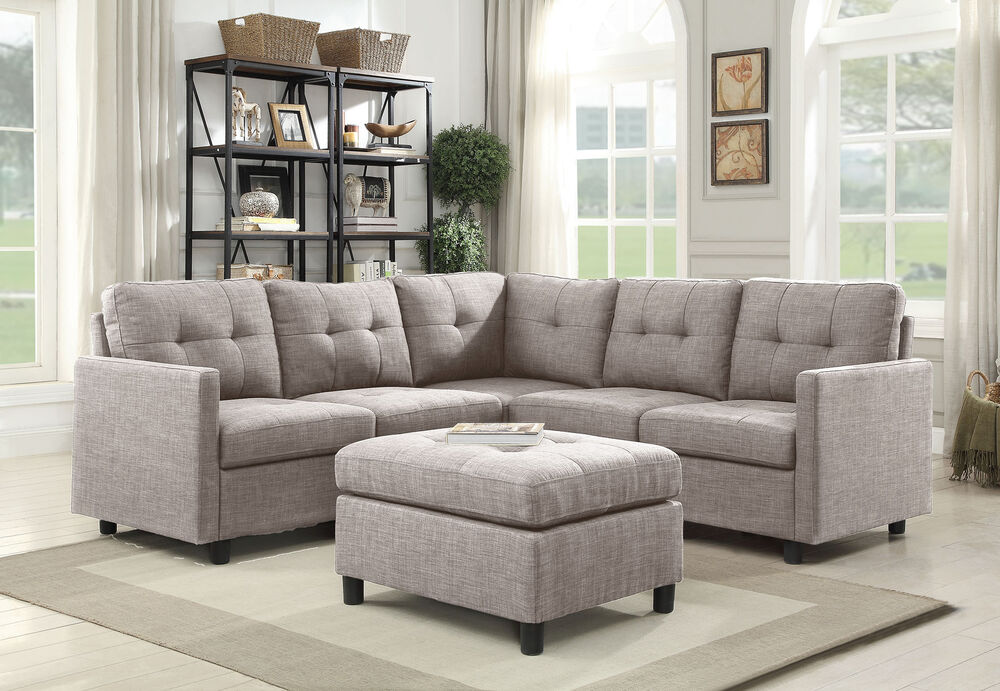 Contemporary Sectional Sofa Couch Microsuede Reversible Chaise ...