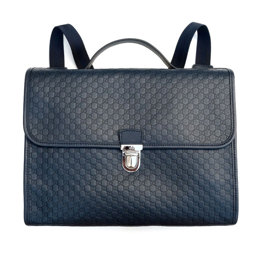 74d916a27 Details about GUCCI Children's GG Microguccissima Leather Backpack  Briefcase Bag Navy Blue