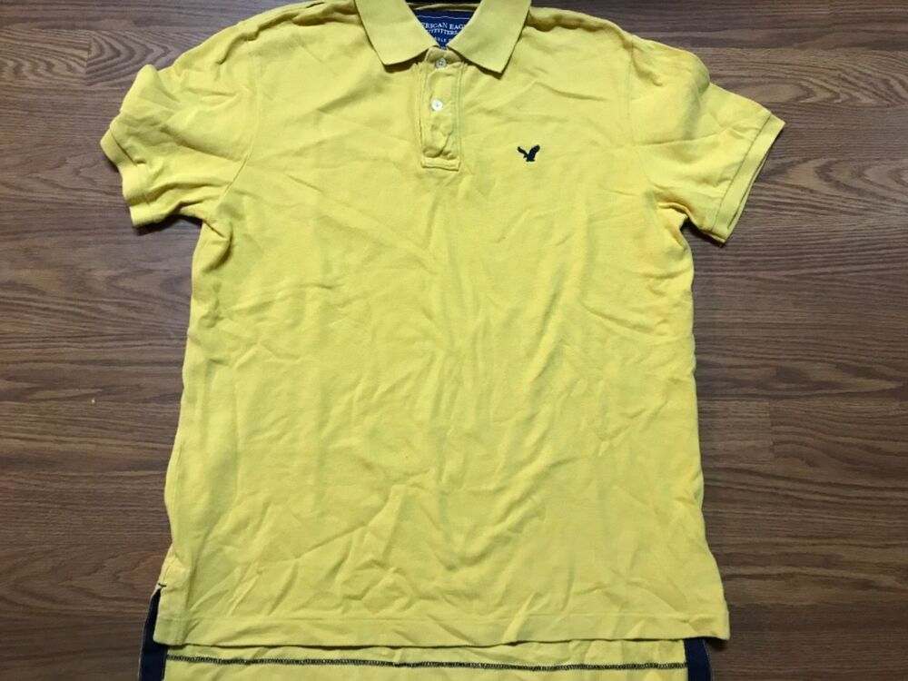 2897c669 Details about Men's American Eagle Polo Shirt Size Medium Gold