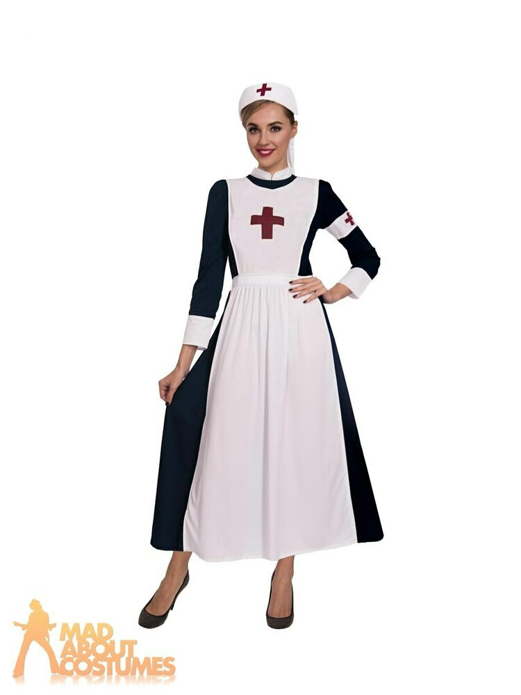 2ebd85be7be5d Details about Adult Ladies WW1 Great War Nurse Costume Midwife Nightingale  Uniform Fancy Dress