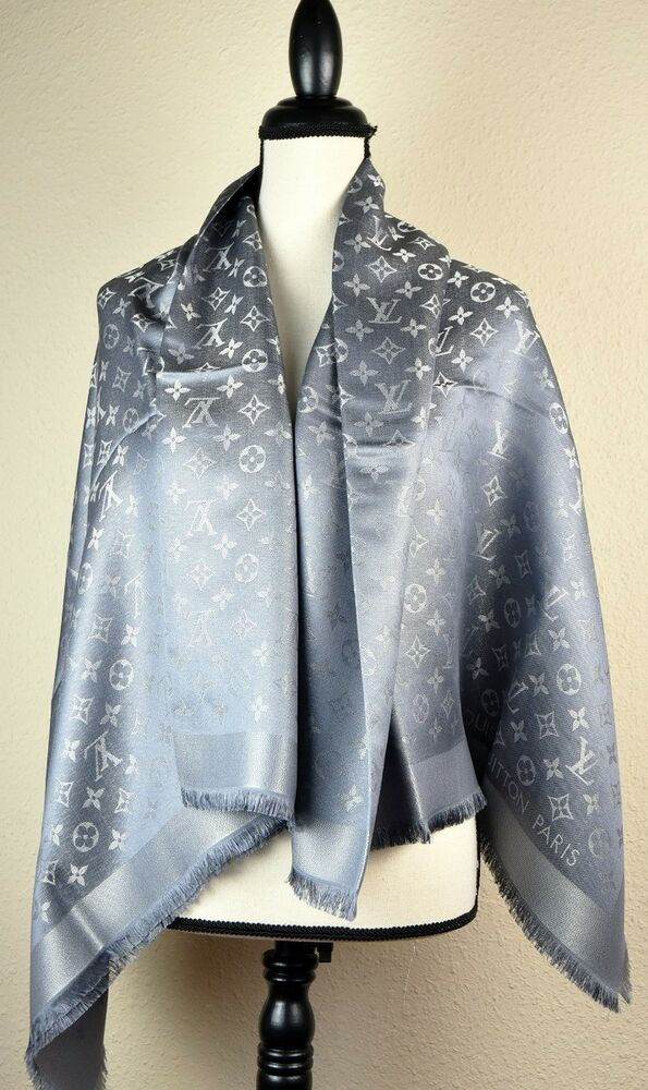50575a31ac969 Details about NEW LV Monogram Silk Wool Shine Scarf Shawl 100% Authentic  M75120 Louis Vuitton