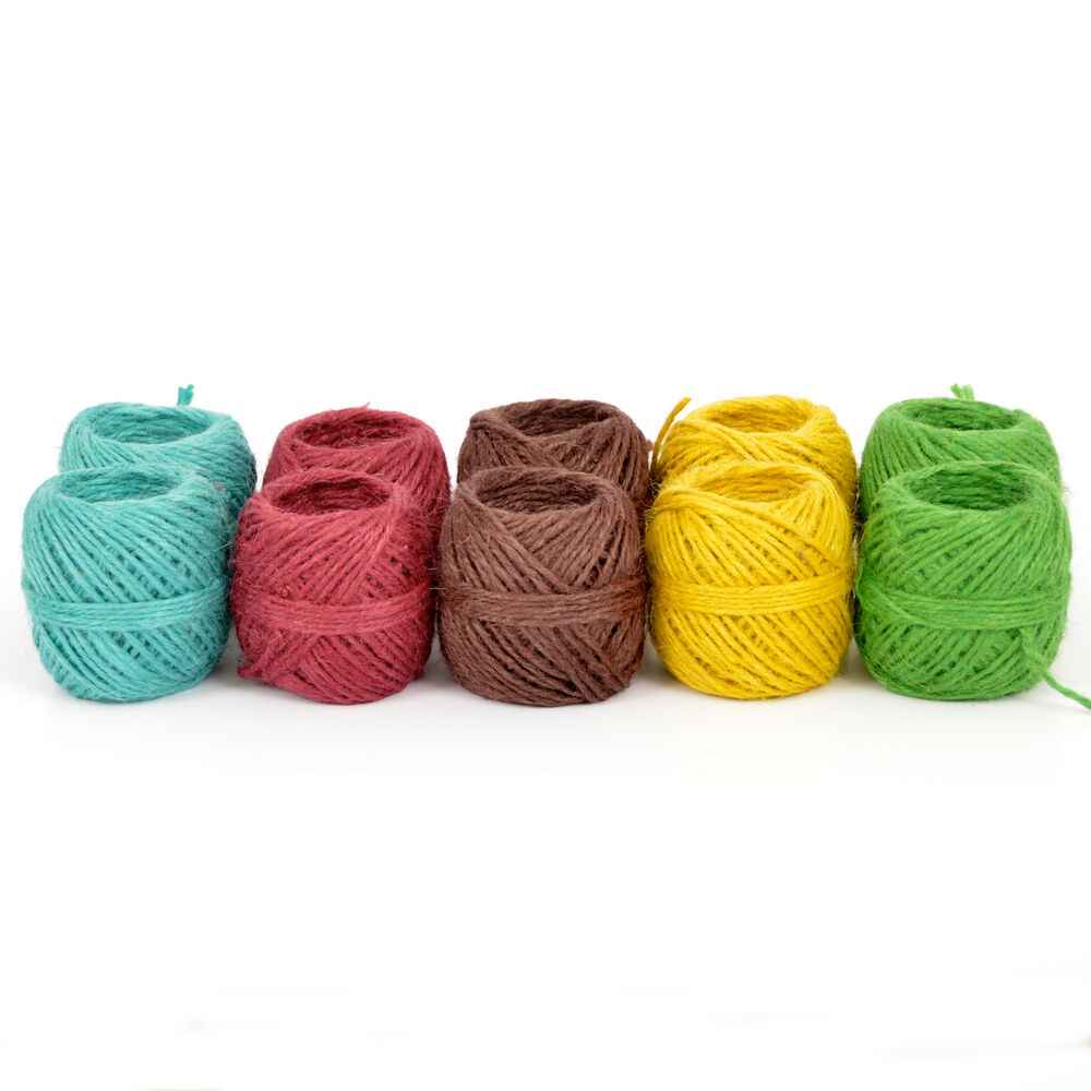 Assorted 10 Pack Of Everlasto Coloured Jute Craft Twine String 50g