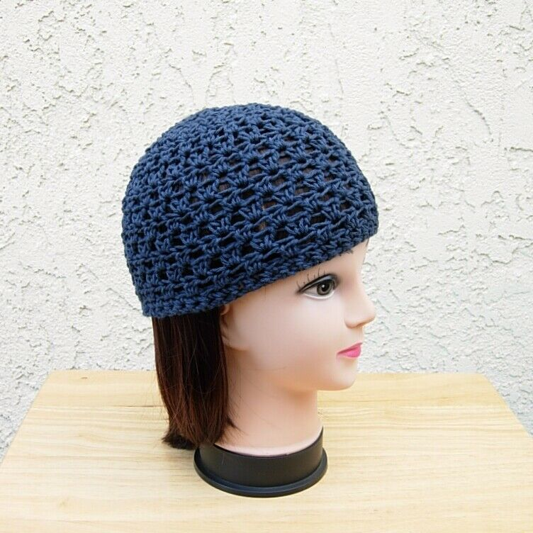 76e1a68ed63 Details about Dark Navy Blue Cotton Crochet Knit Hat Summer Beanie Womens  Chemo Mens Skull Cap