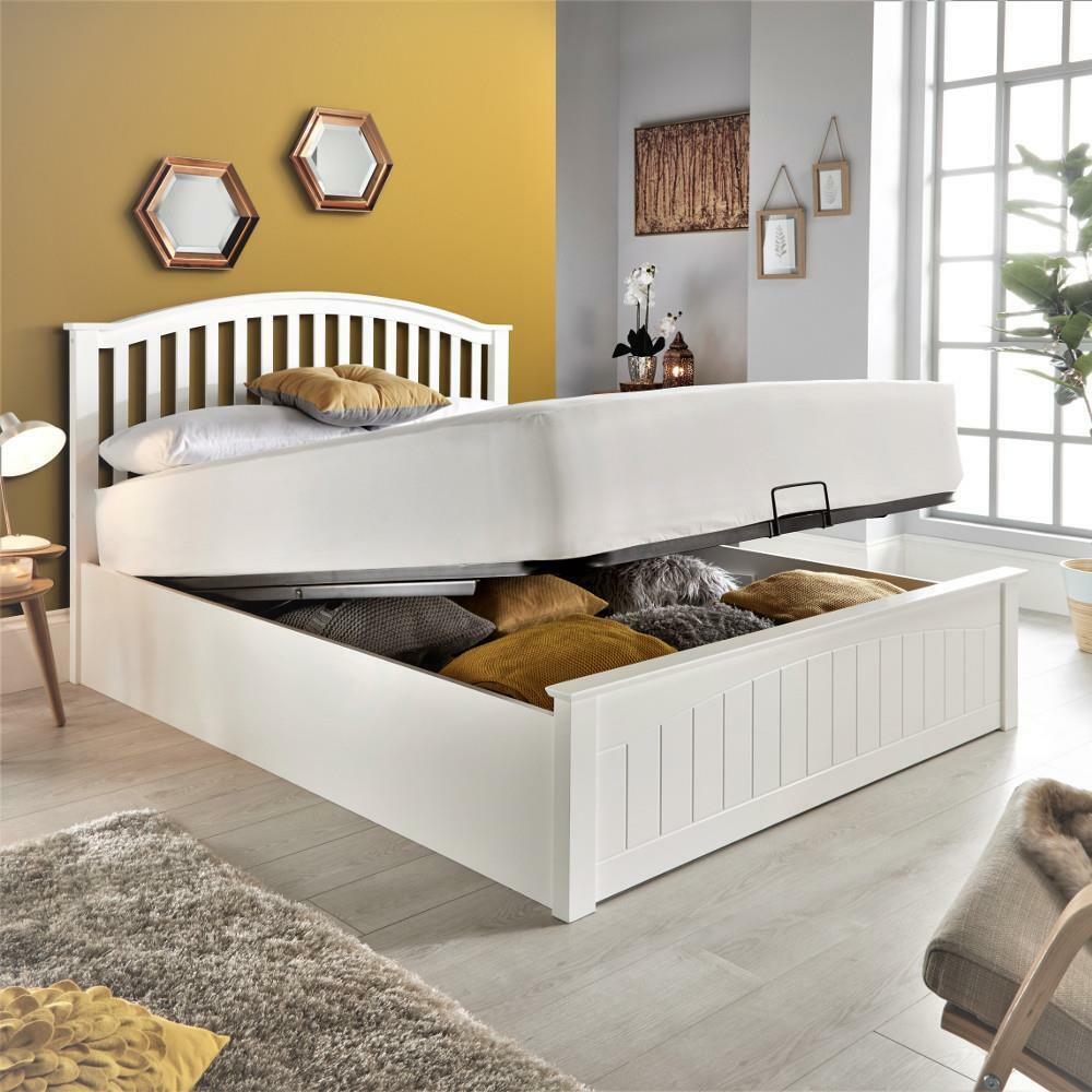Details About Grayson White Wooden Ottoman Bed With Size And 4 Mattress Options
