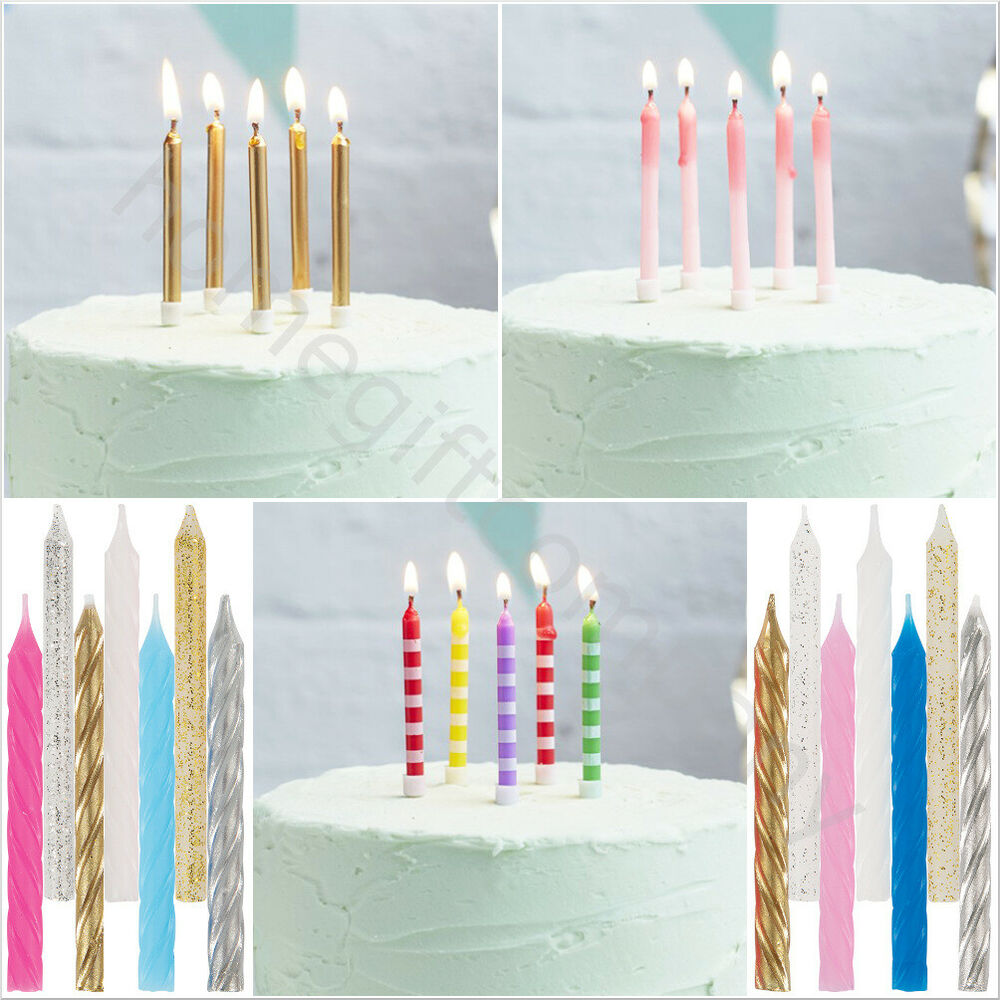 Details About 24 Birthday Cake Candles Holders Party Toppers Decoration Gold Silver Pink