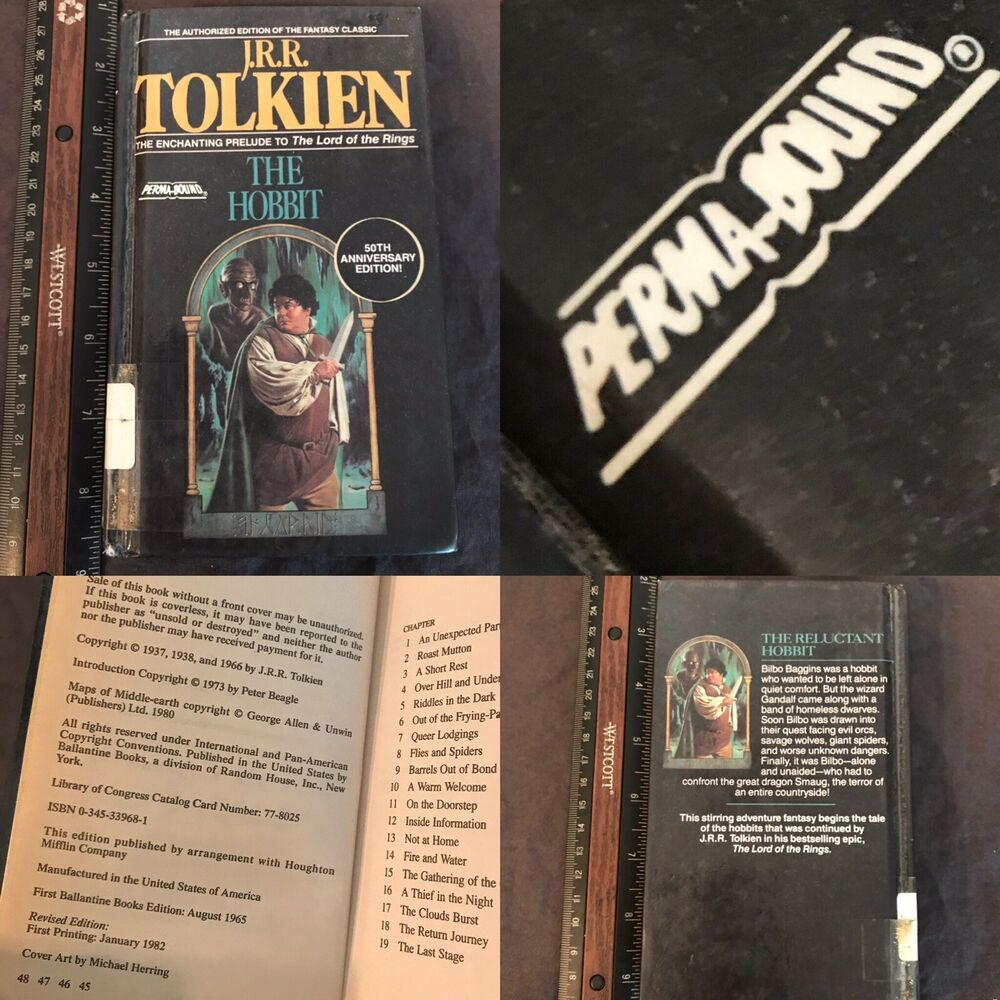 Details about PERMA-BOUND The Hobbit JRR Tolkien 50th Anniversary Edition  HC LIBRARY BINDING
