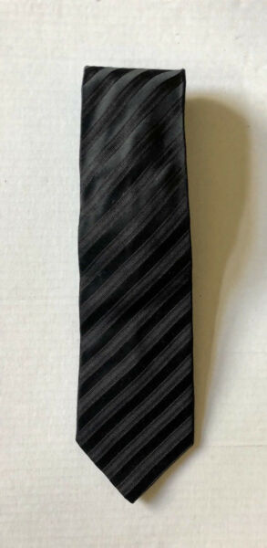 DEHAVILLAND Black Striped 100% Silk Tie