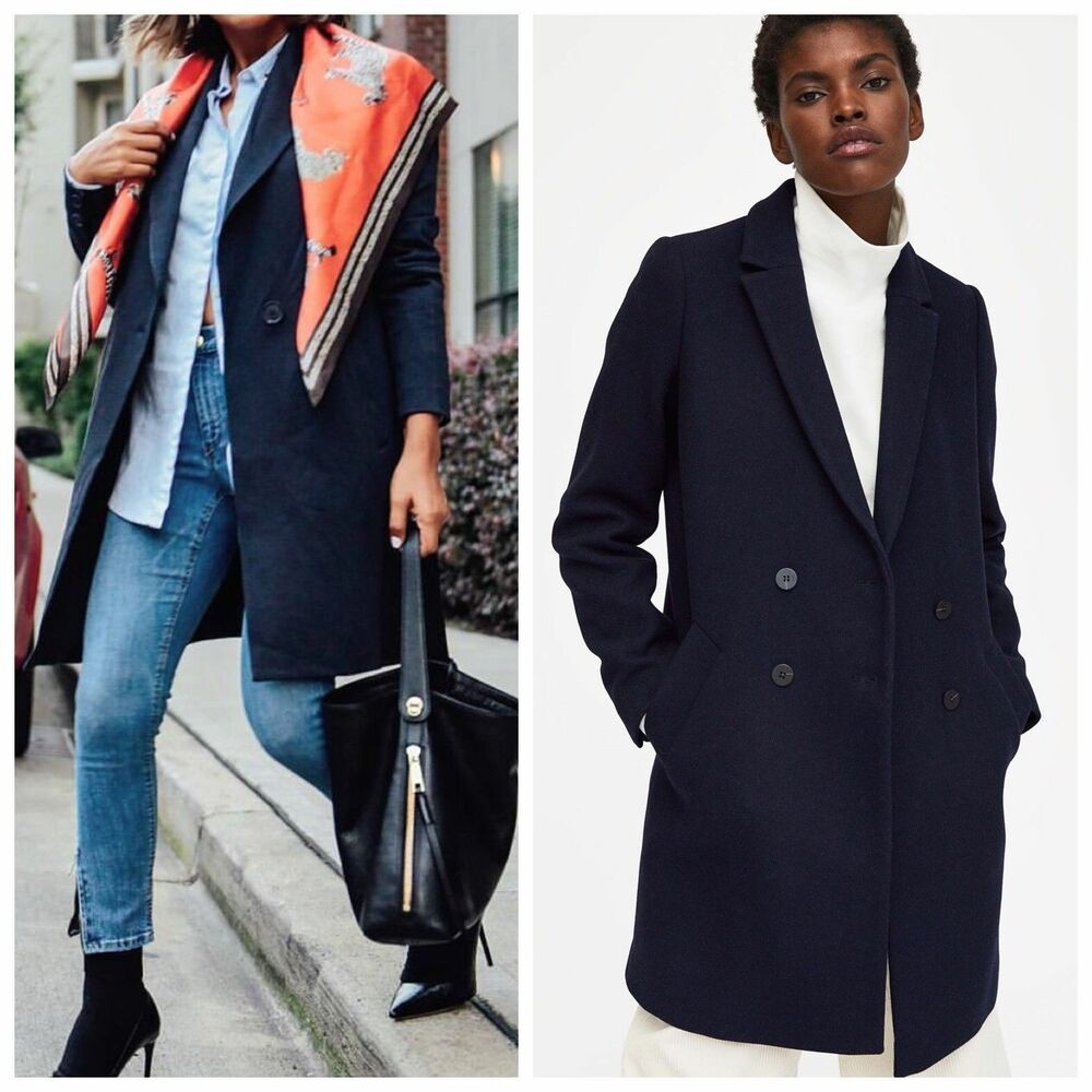 32e7b617 Details about Zara New Navy Blue Masculine Wool Double Breasted Tomboy Coat  Jacket 1255/202 L