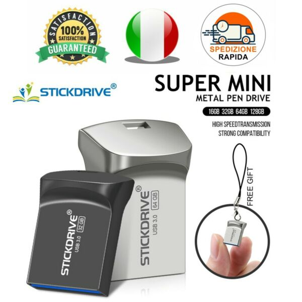 Pendrive Usb 3.0 Super Mini Metallo 16gb 32gb 64gb 128 gb Chiavetta STICKDRIVE