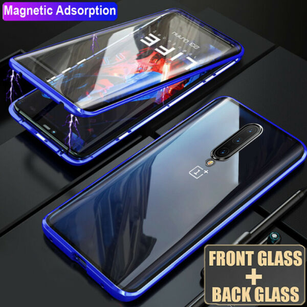 For OnePlus 7 7 Pro Case 360° Magnetic Adsorption Metal Double Sides Glass Cover