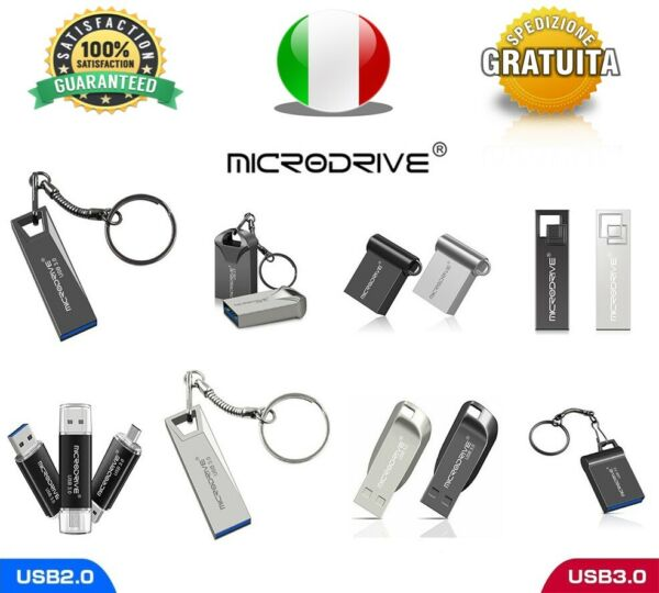 Pendrive Usb 2.0 3.0 Super Mini Metallo OTG 32gb 64gb 128gb Chiavetta MICRODRIVE