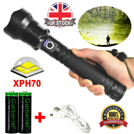 img-Tactical XHP70 LED 18650 USB Rechargeable Camping Flashlight Torch Lamp Light UK