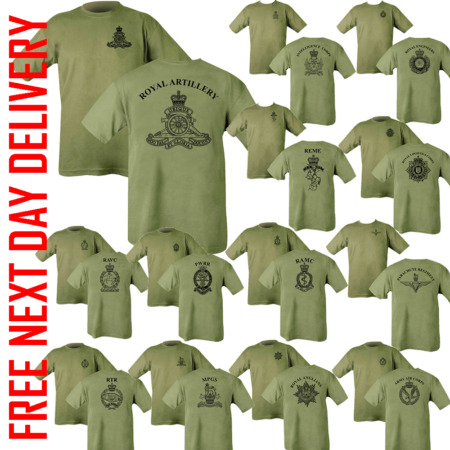 img-PRINTED ARMY Olive Green TSHIRT Double Sided CAP BADGE HM RE Para REME RGR RAMC