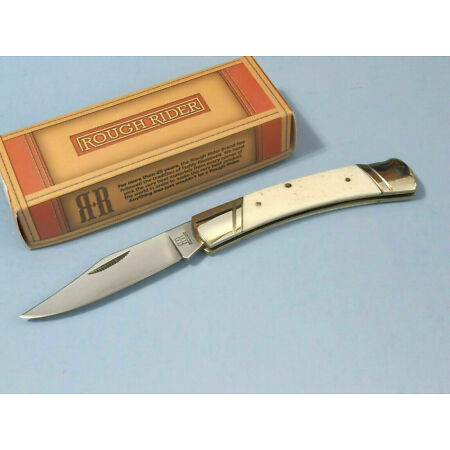 img-RR133 Couteau Rough Rider White Smooth Bone Lame Acier 440 Manche Os