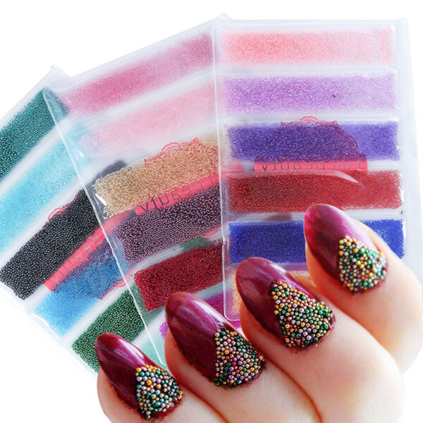 multi-couleur Glitter caviar mini micro perles pointe 3D ongles acrylique gel~PL