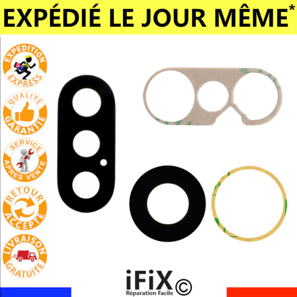 LENTILLE VITRE CACHE CAMERA ARRIERE + ADHESIF IPHONE X / XR / XS / XS Max