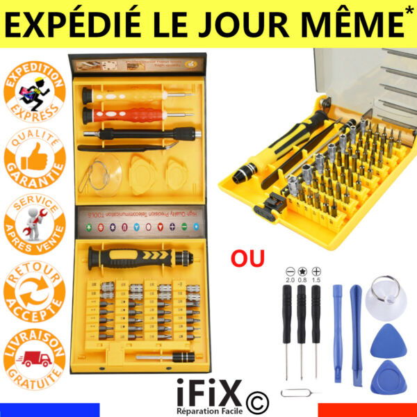 KIT OUTILS OUVERTURE IPHONE 6/7/8/XS IPOD IPAD SAMSUNG WIKO REPARATION TELEPHONE