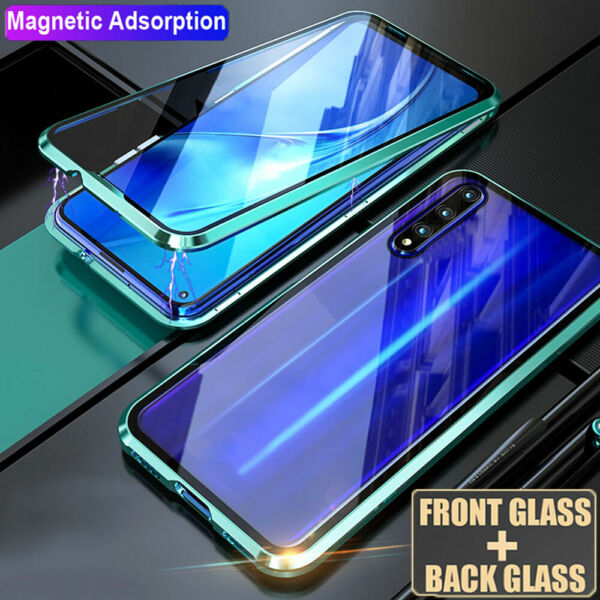 360° Magnetic Double Side Glass Case Cover for Samsung A7 A9 A8 2018/A50 A40 A70