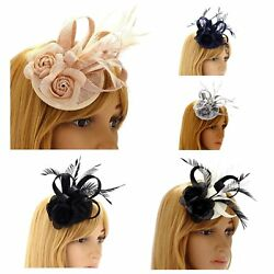 f5f283d3 Navy blue black/ivory black fascinator clip wedding ladies day races