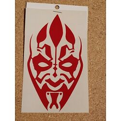 Handcrafted Star Wars Darth Maul Face Red Vinyl Decal Indoor/Outdoor NEW 5''