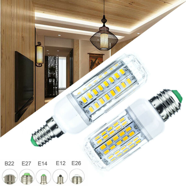 Dimmable LED Corn Light Bulbs E27 E12 E14 5730 SMD 30W - 100W Equivalent Lamp RC