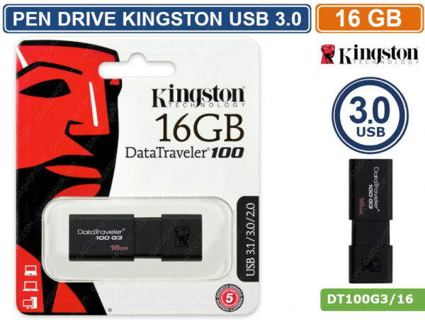 PEN DRIVE KINGSTON DT100G3/16GB USB 3.0 DATA TRAVELER 16GB PENNETTA CHIAVETTA