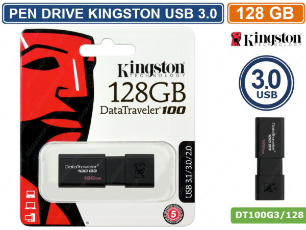 PEN DRIVE KINGSTON DT100G3/128GB USB 3.0 DATA TRAVELER 128GB PENNETTA CHIAVETTA