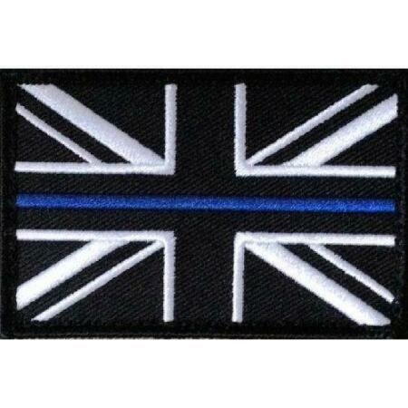 img-Thin Blue Line Police - Union Jack Hook Fastener patch UK Badge insignia SMALL