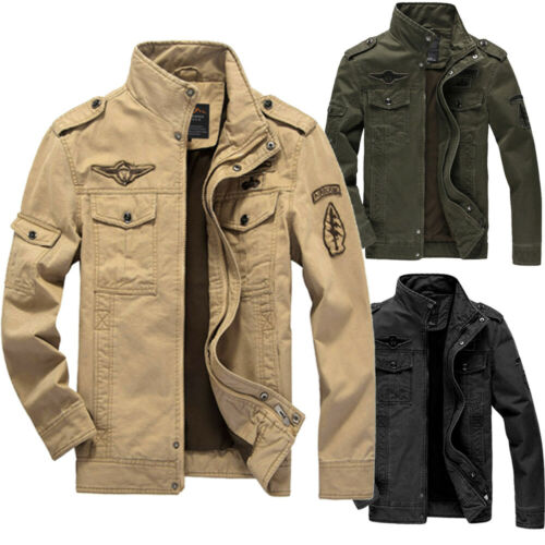 Plus Size Military Jacket Men Spring Autumn Cotton Army Solid Mens Jackets Coats