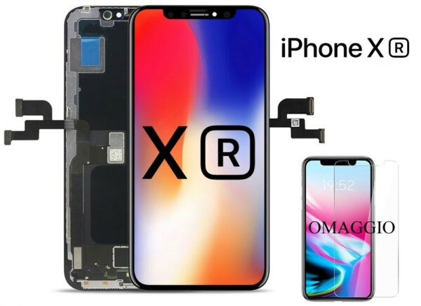 VETRO SCHERMO DISPLAY LCD + TOUCH + FRAME SCREEN NERO PER APPLE IPHONE XR TOP
