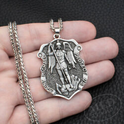 Kyпить Saint St Michael Medal Shield Large Pendant Necklace 316L Stainless Steel Chain на еВаy.соm