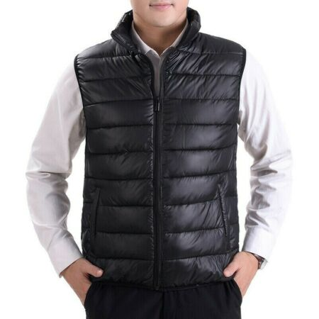 img-Mens Puffer Waistcoat Quilted Padded Gilet Winter Warm Sleeveless Zip Vest