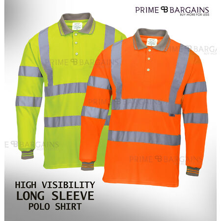 img-High Vis Top Polo T-Shirt Viz Hi Visibility Safety Security Work Reflective Tape