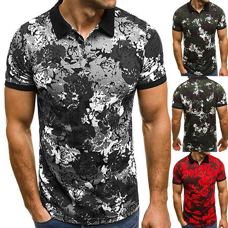 img-Mens Camouflage Short Sleeve Polo Formal Shirt Tops Henley Muscle T-Shirt Tee