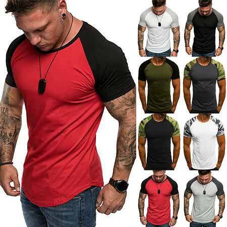 img-Mens Slim Fit T Shirt Muscle Top Gym V Neck Short Sleeve Plain Basic Casual Tee