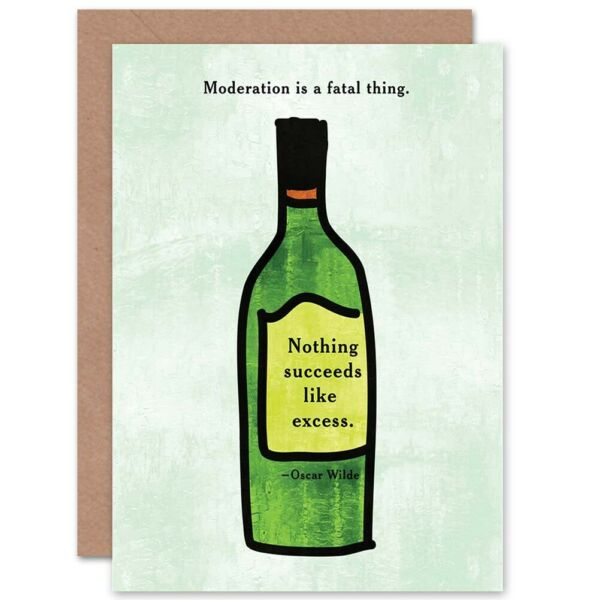 Royaume-UniOscar Wilde Mode Fatal Thing Excess Wine Blank Greeting Card With Envelope